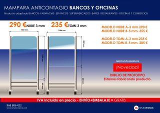 MAMPARA ANTICONTAGIO BANCOS Y OFICINAS