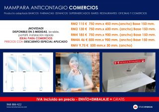 MAMPARA ANTICONTAGIO COMERCIOS