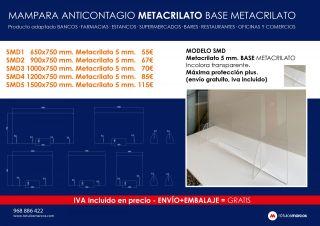 MODELO SMD Metacrilato 5 mm. BASE METACRILATO Incolora transparente. Máxima protección plus. (envío