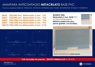 MAMPARA ANTICONTAGIO METACRILATO BASE PVC