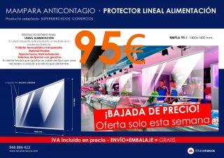 MAMPARA ANTICONTAGIO PROTECTOR LINEAL ALIMENTACIÓN