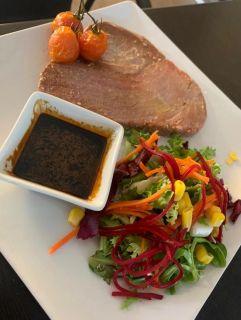 Red tuna saddle with teriyaki sauce