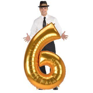 Globo numero 6 dorado (Jumbo)