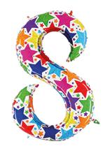 Globo foil holográfico número 8 colores