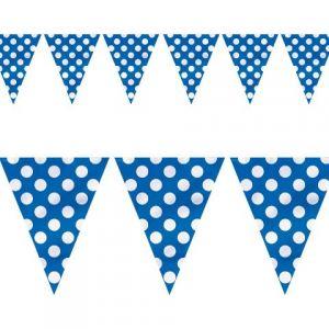 Guirnalda banderín azul con lunares