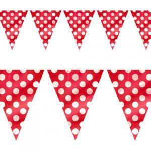 imagen Guirnalda banderín rojo con lunares