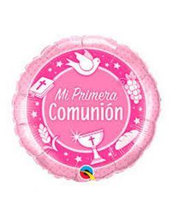 Globo foil de mi primera comunión rosa