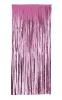 Cortina de flecos metalizada en rosa