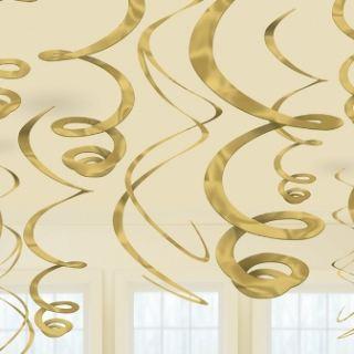Colgantes en espiral dorados