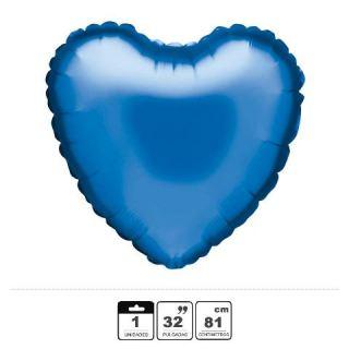 Globo foil corazón azul marino 32