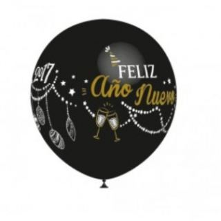Globo latex Feliz año nuevo/ Happy new year negro