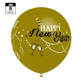 Globo latex Feliz año nuevo/ Happy new year dorado