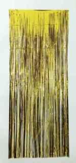 Cortina de flecos metalizada dorada
