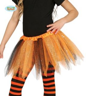 Tutu naranja y negro con puntas