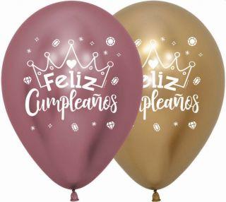 Globo latex feliz cumpleaños corona colores cromados
