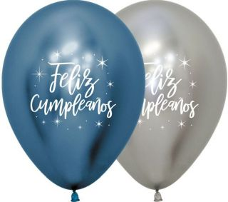 Globo látex feliz cumpleaños cromados