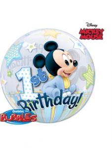 imagen Globo bubble Mickey 1º cumpleaños azul
