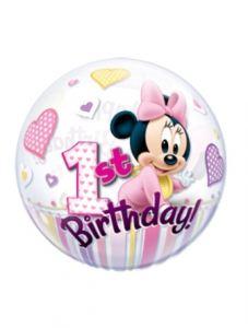 imagen Globo bubble Minnie 1º cumpleaños rosa