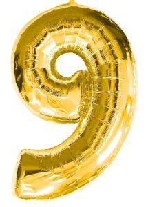 Globo foil nº9 dorado