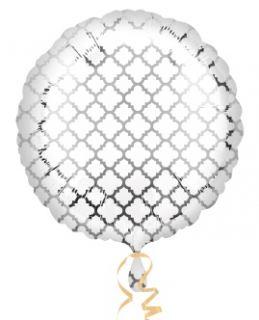 Globo foil circulo blanco y plata