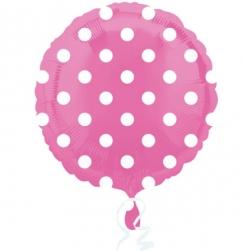 Globo foil circulo rosa con lunares