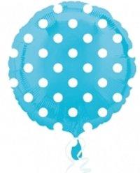 Globo foil circulo azul con lunares blancos