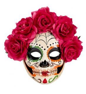Máscara día de los muertos con rosas