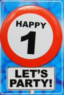 Tarjeta de cumpleaños con chapa happy 1