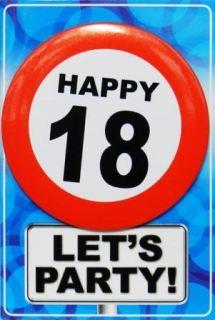 Tarjeta de cumpleaños con chapa happy 18