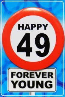 Tarjeta de cumpleaños con chapa happy 49