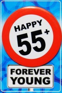Tarjeta de cumpleaños con chapa happy 55