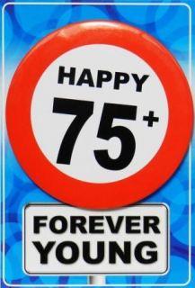 Tarjeta de cumpleaños con chapa happy 75
