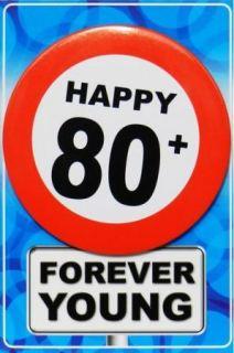 Tarjeta de cumpleaños con chapa happy 80