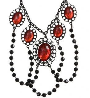 Collar de perlas negras con piedras rojas