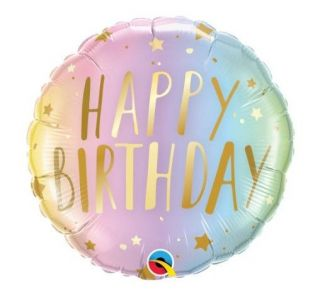 Globo foil Happy Birthday color pastel