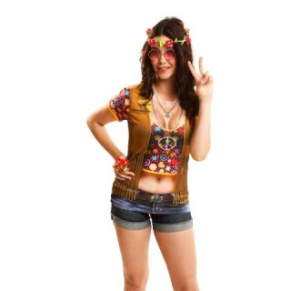 Camiseta disfraz hippie girl