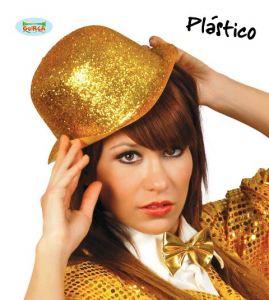 Sombrero bombin escarcha dorado