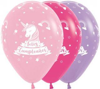 Globos látex unicornio Feliz cumpleaños