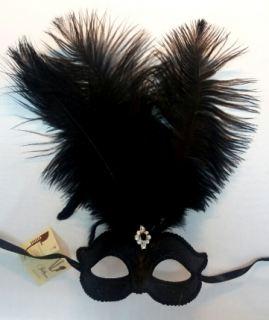 Mascara Veneciana colombina ciuffo nere