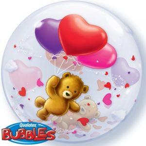 Globo bubble osito con corazones