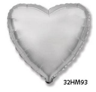 Globo foil corazón plata 32