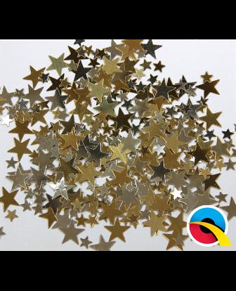 Confeti estrellas dorado y plata