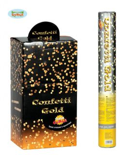 Cañón de confeti en dorado