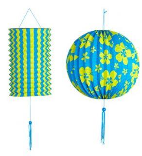 Set farol y farolillo azul con flores verdes