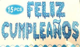 Guirnalda de Feliz Cumpleaños de globos azul