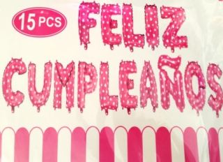 Guirnalda de Feliz Cumpleaños de globos rosa o azul