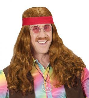 imagen Peluca hippie con cinta y bigote
