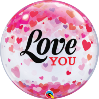 Globo burbuja Love You confetti