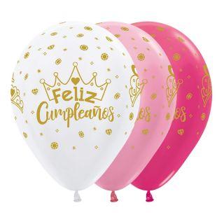 Globos látex feliz cumpleaños corona
