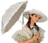Sombrilla blanca de época
